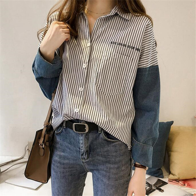 stripe long-sleeve shirt for women autumn new Hong Kong style loose casual shirt plus size women clothing