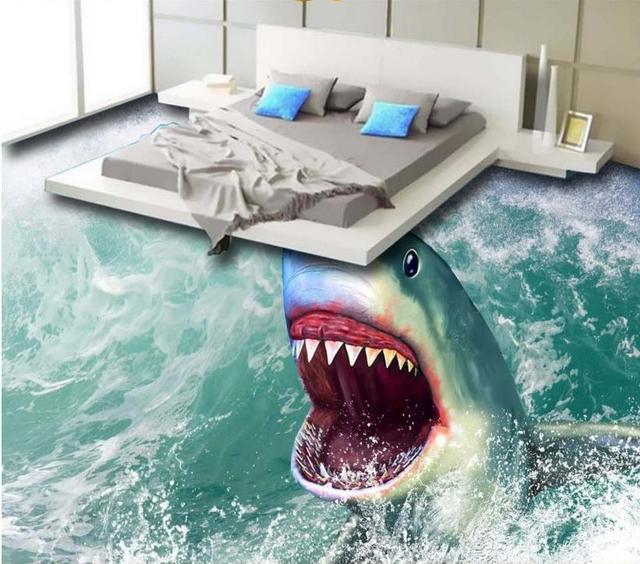 Custom 3d Wallpaper 3d Floor Tile Sea Shark 3d Flooring