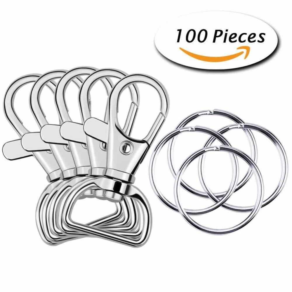 100 Pcs DIY jewelry making Metal Swivel Lanyard Snap Hook with Key Rings himabm 1 pcs 100