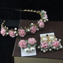 Европейский и американский стиль, Винтажный Розовый цветок, повязка на голову в стиле барокко, золотые металлические серьги с цветком и жемчугом