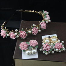 Europe and American Style New Vintage PINK Flower Hairband Baroque Headband Gold Plated Metal Pearl Earrings  Jewelry Set