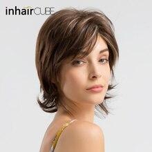 Inhair cube 8 дюймов короткие волосы натуральные челки Многослойные синтетические парики натуральные волосы парики с коричневыми серебристыми черными цветами