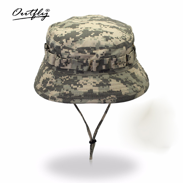 Outfly 디지털 위장 육군 모자 야외 캠핑 남자 짧은 브림 모자 도매 들어 갔어 바이오닉 정글 모자 양동이 모자