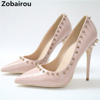Luxury shoes women designers pupms patent leather slip on 10CM 12CM sexy high heels sandals pink rivets party runway shoes