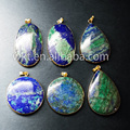 Natural green lapis lazuli  Pendant with gold plated on edged,lazuli Pendant in different shape(WT-P219)
