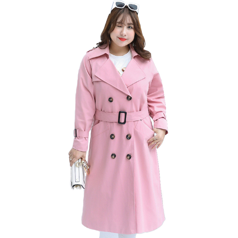 2019 Spring Autumn Trench Large Size Coat Women Casual Long Trench Lacing Double-breasted Windbreaker Female Plus size 4XL A2829