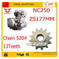 Front chain sprocket 520 chain 13T 14T ZONGSHEN NC250 250CC 4 valve xmotos kayo bse dirt pit bike accessories free shipping
