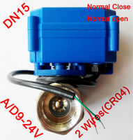 1/2 Mini electric motor valve 2 wires(CR04), AC/DC9 24V motorized valve SS304, DN15 electric valve normal close / normal open