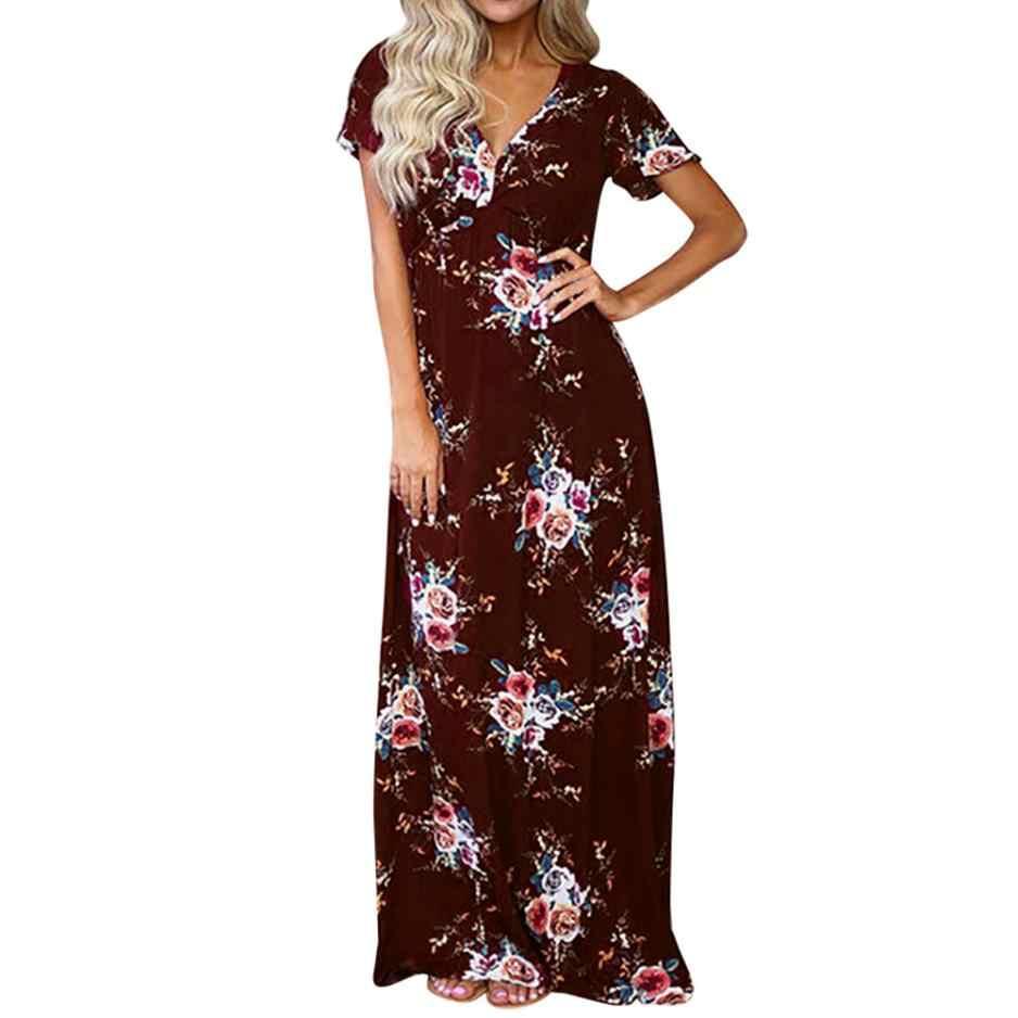 a25113760b2 Women Maxi Boho Floral Printing Long Maxi Dress Ladies Short Sleeve Beach Party  Dress Summer V