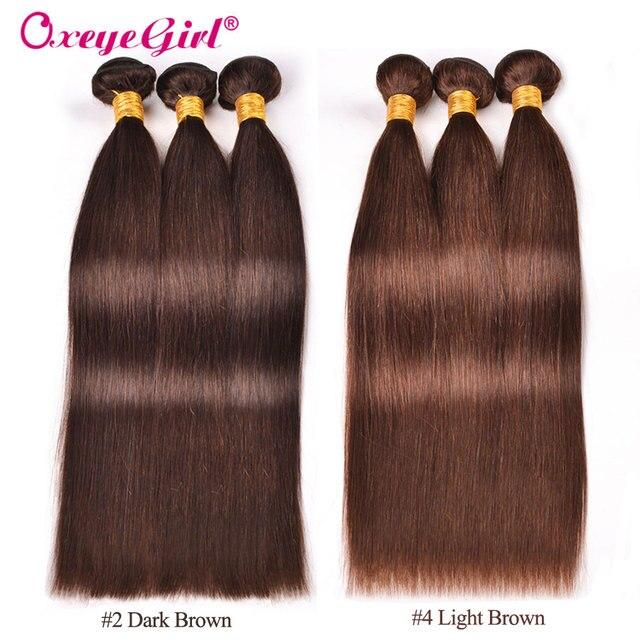 Brown Hair Bundles Peruvian Hair Bundles Silky Straight Human Hair Bundles Oxeye girl Double Weft 1/3/4 Bundle Deals Non remy