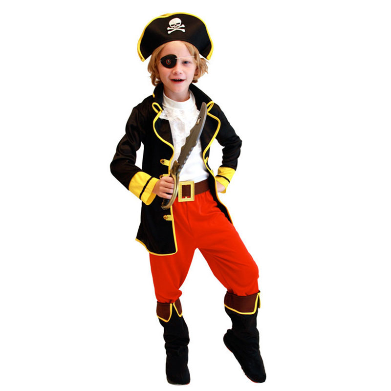 Party Pirate Boy girl Clothing Halloween Costume Kids Children Christmas Costume for Capain Jack Cosplay NSV775