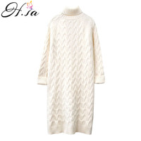 H.SA ugly christmas sweater 2019 Women Turtleneck Long Sweater Dresses Slim Fit Warm Long Jumpers cashmere sweater harajuku Top