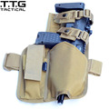 Quality Cordura Military Drop Leg Holster for HK MP7 Airsoft Paintball Military Leg Holster with Spare Magazine Pouch