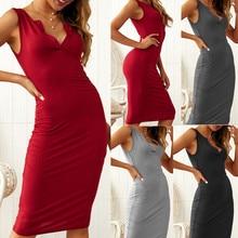 Womens Dress Vestido Sleeveless Slim Bodycon V-Neck Casual Solid Sheath Knee-length New Arrival Drop Shipping