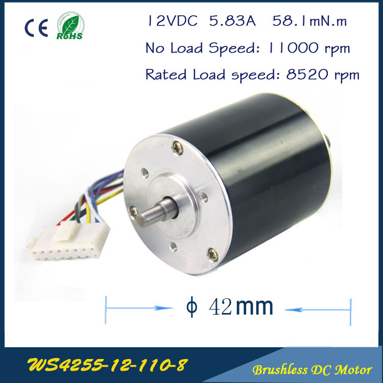 11000rpm 67W 12V 5 83A 42mm 55mm 3 phase Hall Brushless DC Micro Motor High Speed