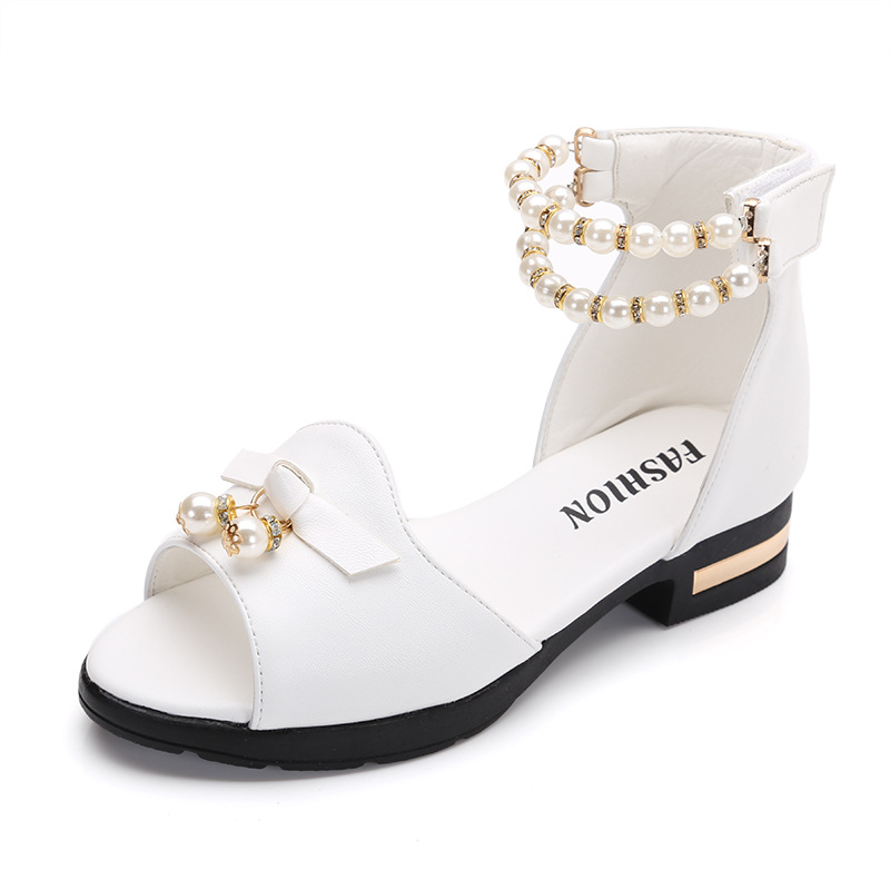 Sandals Girls 2018 Children Shoes Girls Sandals Summer Princess Sandal Bowknot Pearl Childrens School Shoes for Girl Sandals
