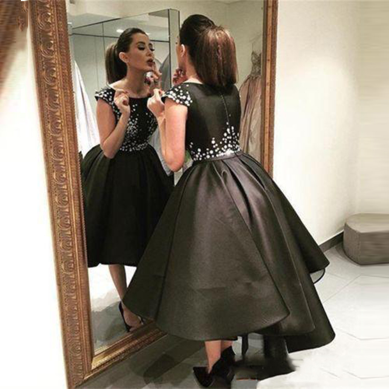 Glamorous Scoop Neck Short Ball Gown   Bridesmaid     dresses   2018 Sparkly Black Satin Formal Prom Gowns party Wear   dress   For Bridal