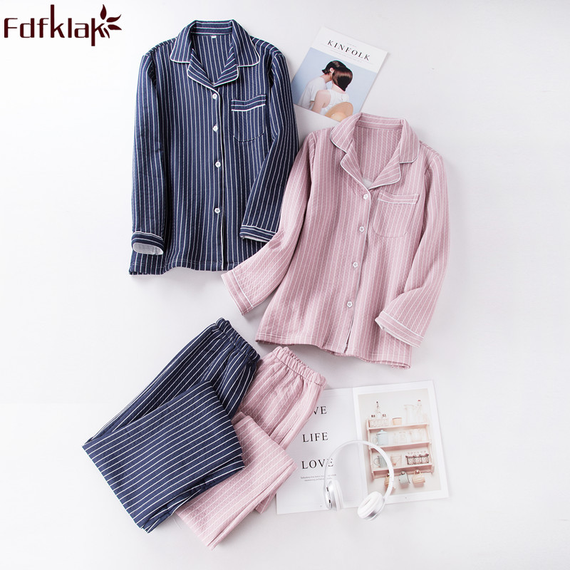 Fdfklak Autumn 2018 Couple   Pajama     Sets   Cotton Plaid Night Suit Sleepwear   Pajamas     Set   Ladies Pyjamas Home Cothes Pijama Lingerie
