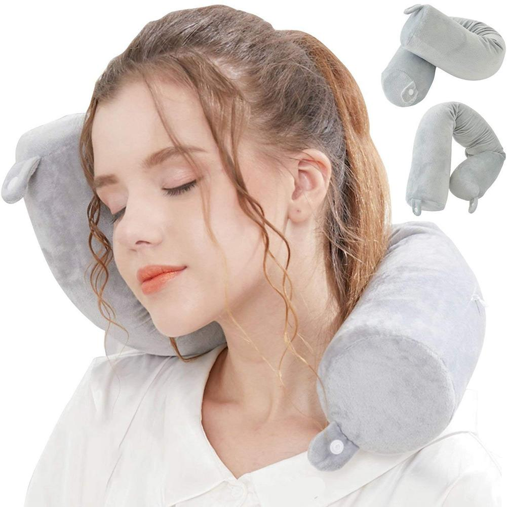 Foldable Memory Foam Travel Pillow Tube Shape Cushion Train Airplane Headrest hot sale perfect for travel and office Naps image