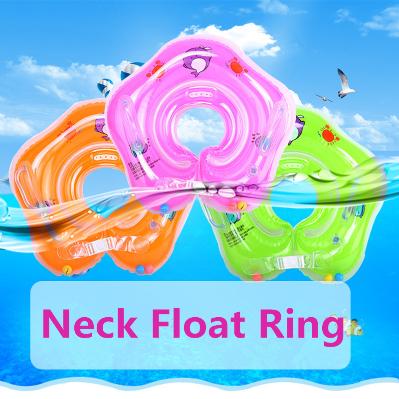 Inflatable Baby Neck Float Ring Newborn Bathing Circle Infant Inflatable Wheels Pool Double Airbag Baby Bath Swimming Toys
