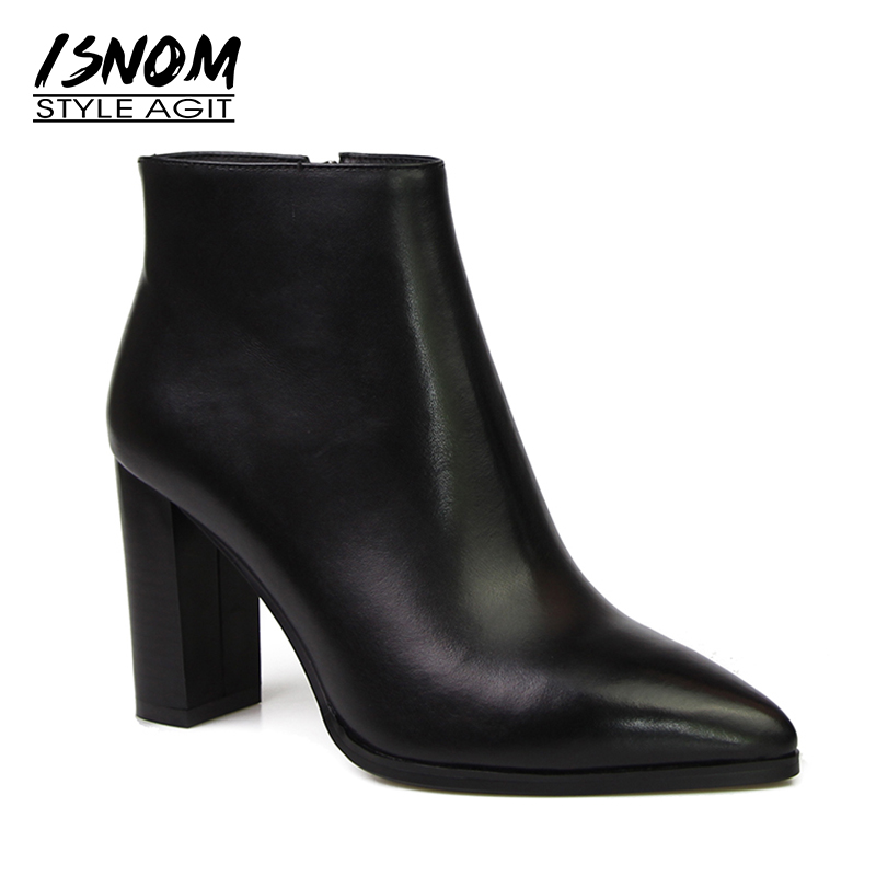 Super High Thick Heel Ankle Boots Natural Leather Winter Boots New Arrival Sexy Pointed Toe Shoes Woman Zipper Female FootwearSuper High Thick Heel Ankle Boots Natural Leather Winter Boots New Arrival Sexy Pointed Toe Shoes Woman Zipper Female Footwear