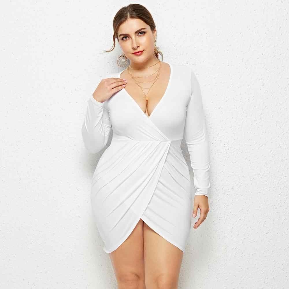 2019 ใหม่ผู้หญิงขนาดใหญ่ลำลองเซ็กซี่ลึก V คอกระเป๋าสะโพกไขมันมินิ Bodycon Wrap Dress ด้านหน้า slit AD