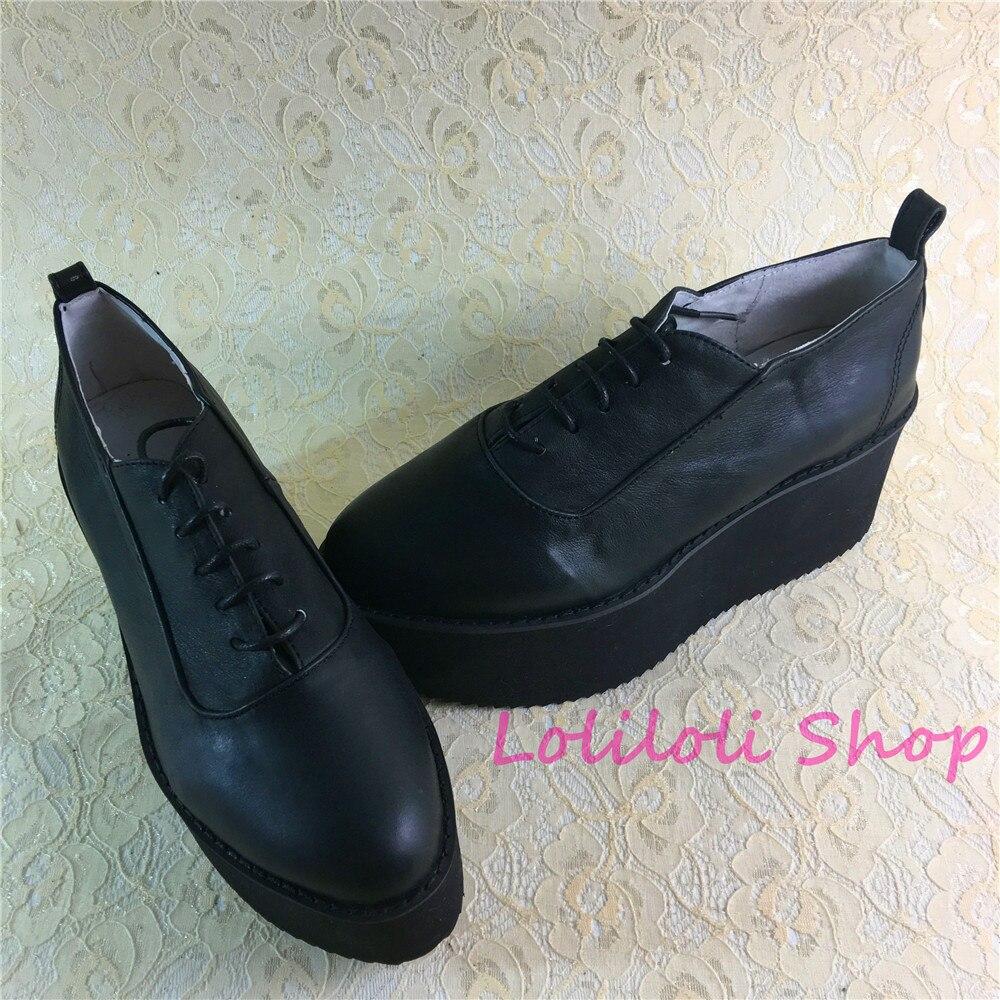 Princesse douce lolita Lolilloliyoyo antaina design japonais chaussures personnalisé noir brillant peau épaisse fond plat chaussures 5272 s