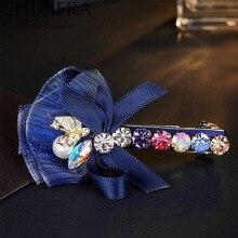 Bling Perla de Imitación de Cristal Rhinestone Horquillas de Clip de Pelo para Las Mujeres Mariposa Haar Broche Pinza de Pelo Cola de Caballo Clip de Horquillas