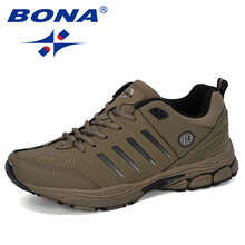 BONA 2019 New Designer Men Sneakers Outdoor Walking Sport Shoes For Male Lace up Running Shoes Men Cow Split Footwear Trendy