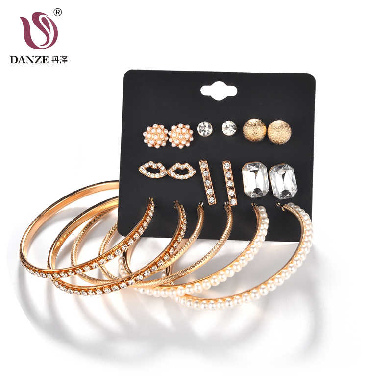 DANZE 9 Pairs/pack Trendy Gold Mixed Lips Flowers Stud Earrings Set For Women Full Crystal Simulated Pearls Ear Jewelry Brincos