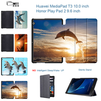 Dolphin Flip PU Leather Case For Huawei MediaPad T3 10 Tablet Trifold Stand Protect Shell For