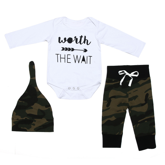 1e1d81afe3d Fashion 3pcs Baby Boys Clorthing Long Sleeve letter Print Romper+Camouflage  Pants+Hat Outfits