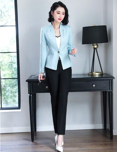 72902b8396878 2019 Winter formal elegant Women s business blazer trouser suit set Office  lady Suits Work Pink Blazer