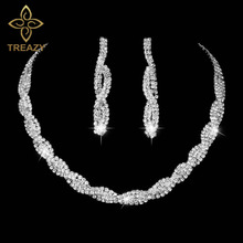 TREAZY Crystal Bridal Jewelry Set Silver Color Rhinestone Choker Necklace Earrings Wedding Engagement Jewelry Set for Women