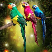 45# 2019 Functional Artificial Parrot Simulation Feather Bird Figurine Ornament Home