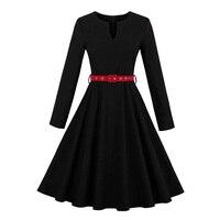 Sisjuly 1950s 60s Vintage Dresses Autumn Knee Length Women Black Party Dress Red Sashes 2017 Elegant