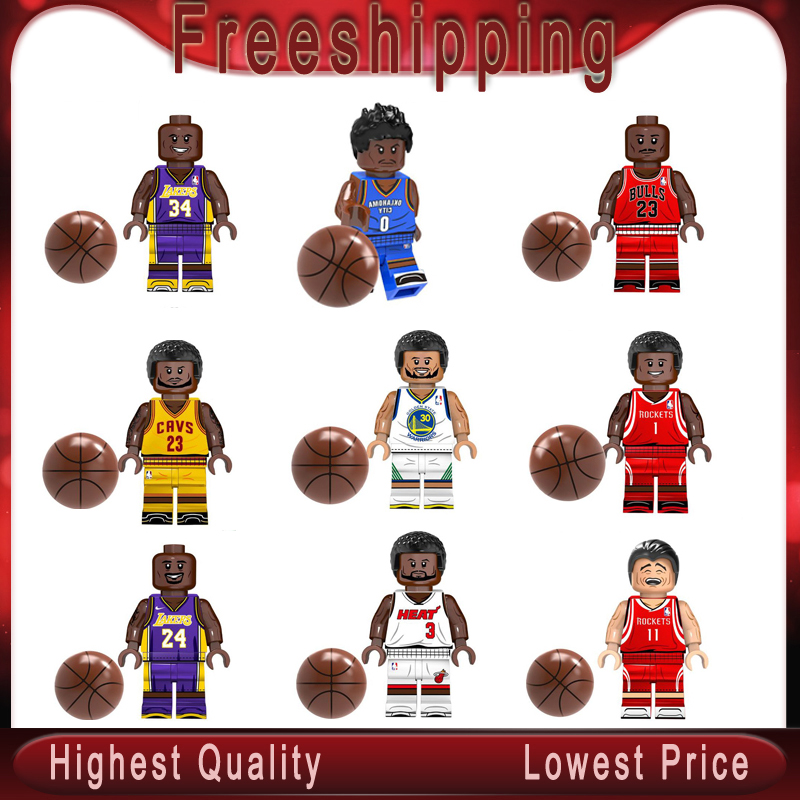 Basketball Super Stars Curry James Kobe Wade O'Neal Westbrook Jordan T-Mac Building Block Bricks   Toys KT1021