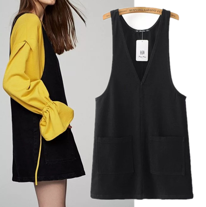 Buy Cheap Freeshipping summer dress vestidos 2017 The European and American wind leisure pure color women's jeans pocket vest dress