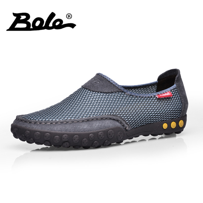 BOLE Summer Mesh Breathable Flats Men Light Weight Casual Shoes Handmade Leather and Mesh Stitching Flats Slip on Shoes pinsen fashion women shoes summer breathable lace up casual shoes big size 35 42 light comfort light weight air mesh women flats