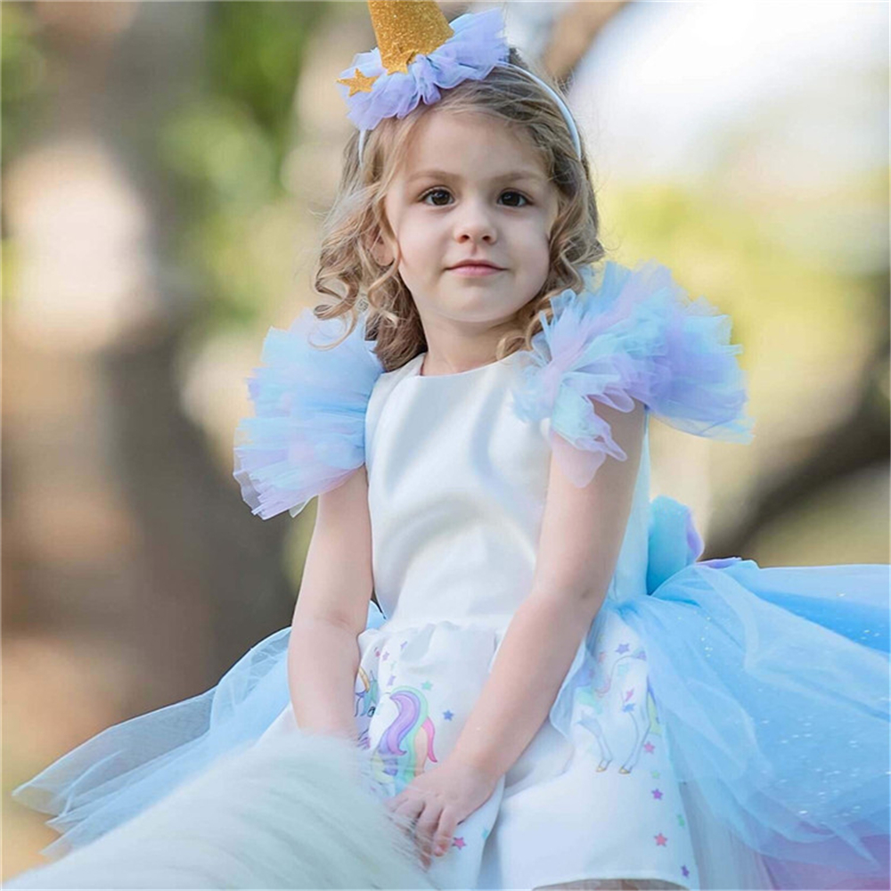Christmas Girls Unicorn Dress with Long Tail + Wings Wig Hairband Baby Girl Princess Birthday Party Ball Gown Kids Horse Clothes 5
