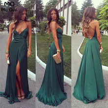2019 Teal Wine Red Spaghetti Straps Evening Dresses Long with Pockets Front Split Satin Formal Evening Party Dress for Women