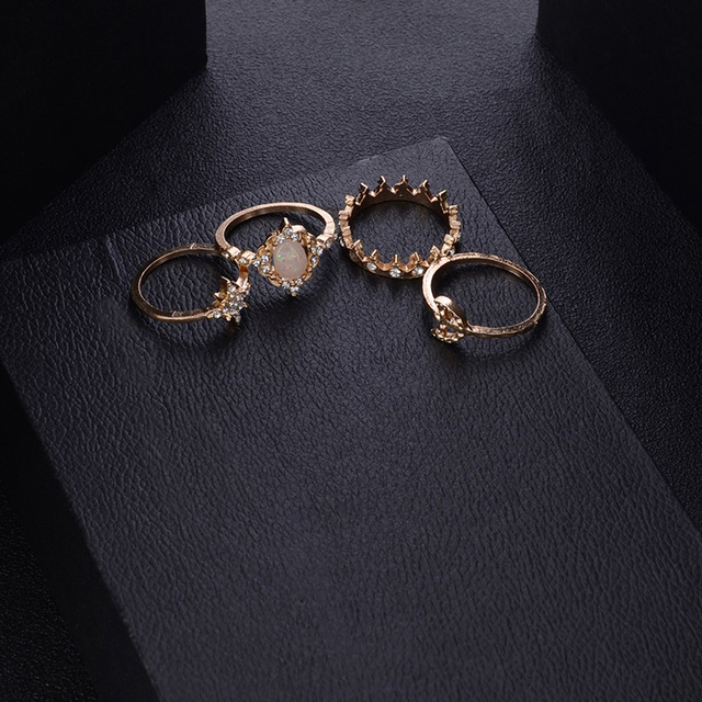 12Pcs/Set Vintage Star Opal Crystal Finger Ring Set Bohemian Gold Moon Crown Knuckle Midi Rings Women Jewelry Accessories 4