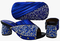 Summer New Ladies Slipper Shoes And Bags Set For Evening Party Africa Style Woman Shoes And Matching Bag Set Royal Blue BCH-13