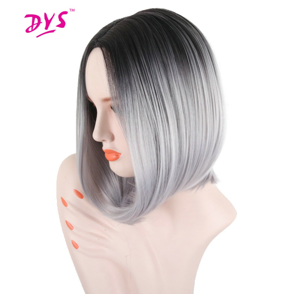 Deyngs Peluca Short Bob Wigs For Black Women 14inch Middle Part Pixie Cut Ombre Dark Root