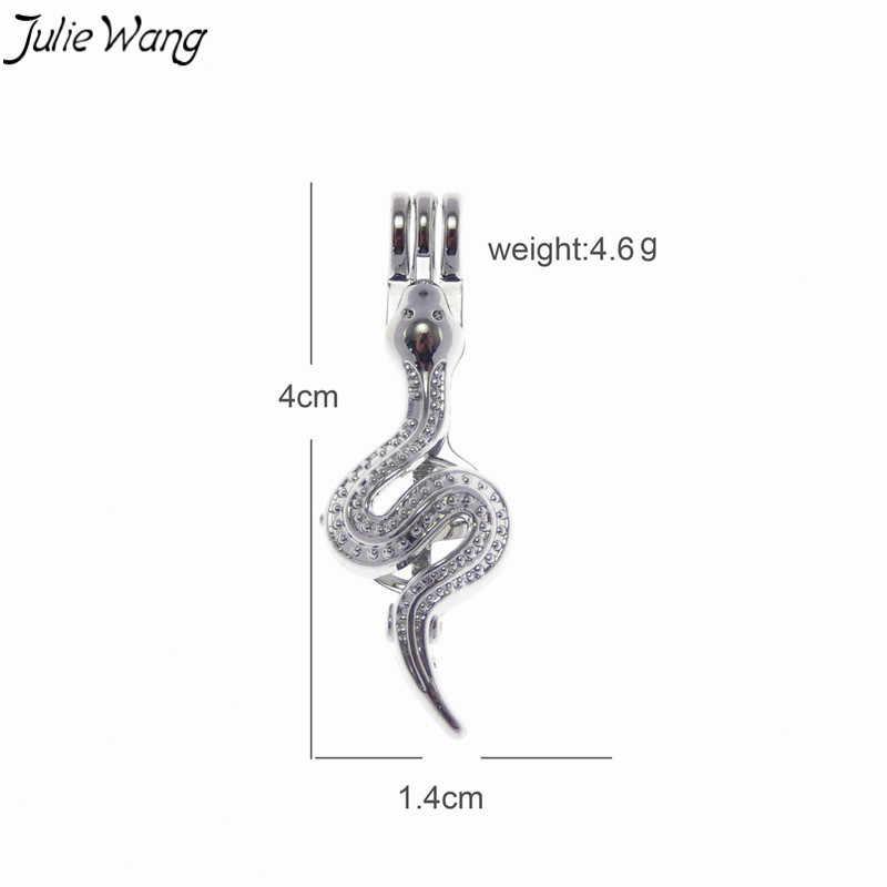 Julie Wang 1 ชิ้น Bright Silver Evil Snake กรงกล่อง Pearl จี้ Charm Fit 6 มิลลิเมตรลูกปัด Punk Stylish สร้อยคอเครื่องประดับทำด้วยมือ