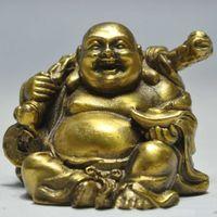 Elaborate Chinese Buddhism Brass Happy Laughing Maitreya Buddha Holding Money Auspicious Statue