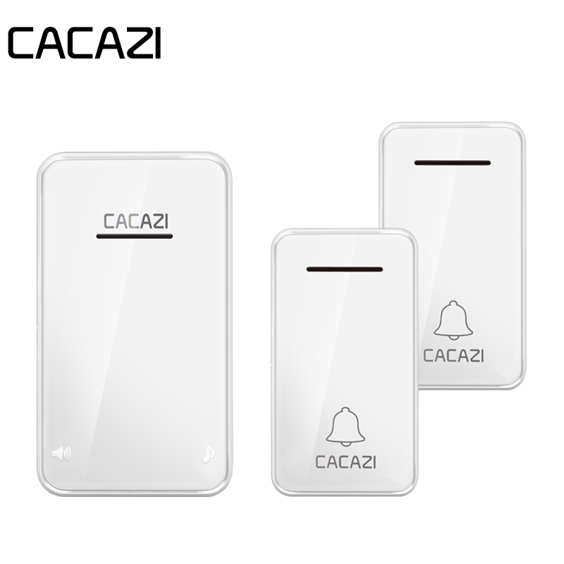 CACAZI Self-powered Wireless Doorbell Waterproof 200M Remote No Battery Smart LED Light Calling Bell EU Plug 6 Volume 48 Chime цена