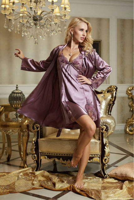 2017 New Womens Sexy Night Skirts + Robe Imitated Silk Purple Nightgown Valentine Gifts LX80005