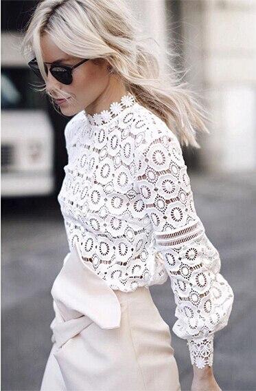5322e63b59 Luoanyfash branco chique blusa de renda camisa Mulheres lanterna manga de  volta zipper blusa oco out