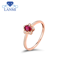 Oval 3.5mmx4.5mm Natural Ruby Engagement Ring Solid 18Kt Rose Gold Gemstone Jewelry For Young Girl WU299